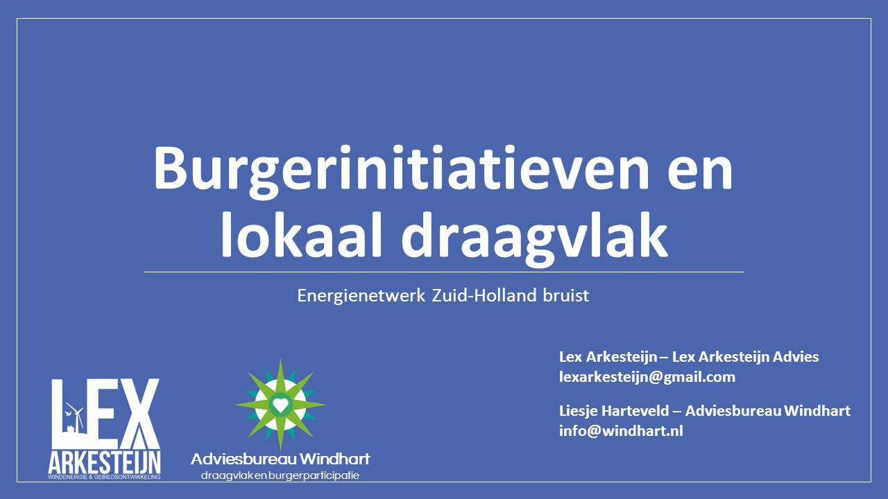 Burgerinitiatieven en lokaal draagvlak Energienetwerk Zuid-Holland bruist Adviesbureau Windhart draagvlak en burgerparticipatie Lex Arkesteijn – Lex A