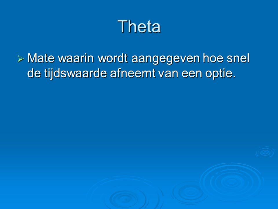 Theta  Mate waarin wordt aangegeven hoe snel de tijdswaarde afneemt van een optie.