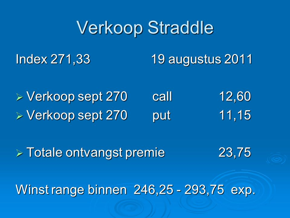 Verkoop Straddle Index 271,33 19 augustus 2011  Verkoop sept 270 call 12,60  Verkoop sept 270 put 11,15  Totale ontvangst premie 23,75 Winst range