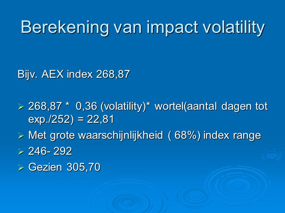 Berekening van impact volatility Bijv. AEX index 268,87  268,87 * 0,36 (volatility)* wortel(aantal dagen tot exp./252) = 22,81  Met grote waarschijn