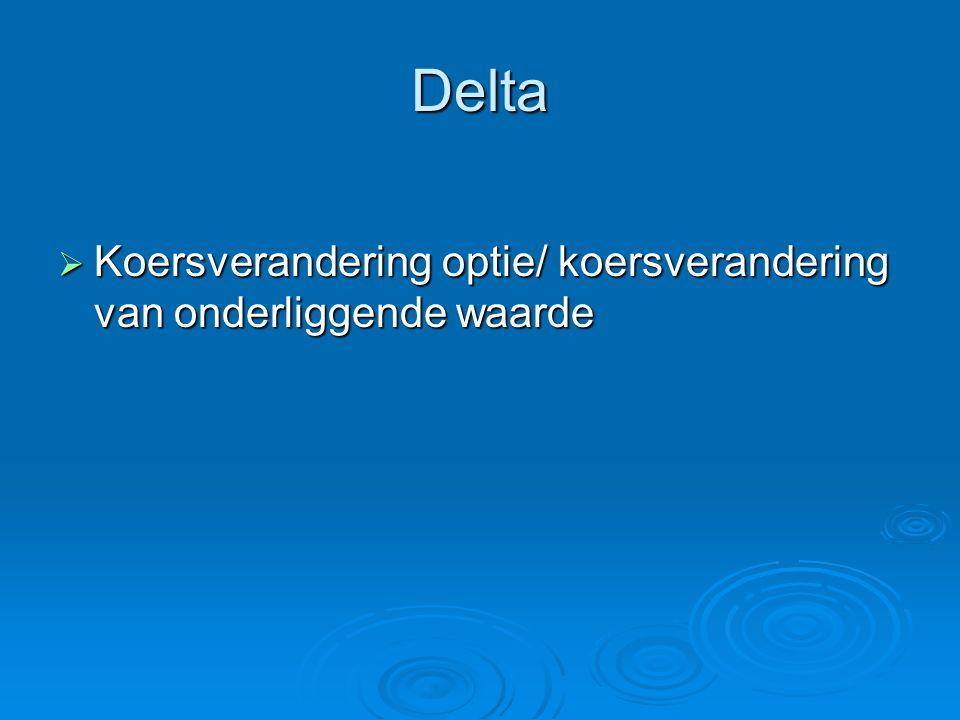 Delta  Koersverandering optie/ koersverandering van onderliggende waarde