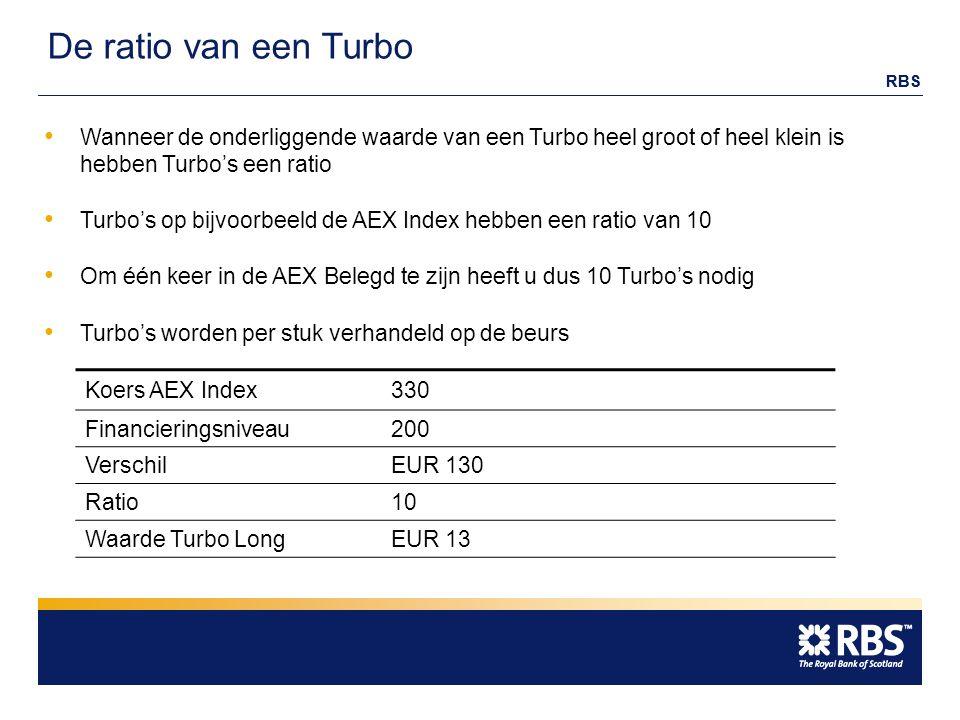 RBS De ratio van een Turbo Koers AEX Index330 Financieringsniveau200 VerschilEUR 130 Ratio10 Waarde Turbo LongEUR 13 Wanneer de onderliggende waarde van een Turbo heel groot of heel klein is hebben Turbo's een ratio Turbo's op bijvoorbeeld de AEX Index hebben een ratio van 10 Om één keer in de AEX Belegd te zijn heeft u dus 10 Turbo's nodig Turbo's worden per stuk verhandeld op de beurs