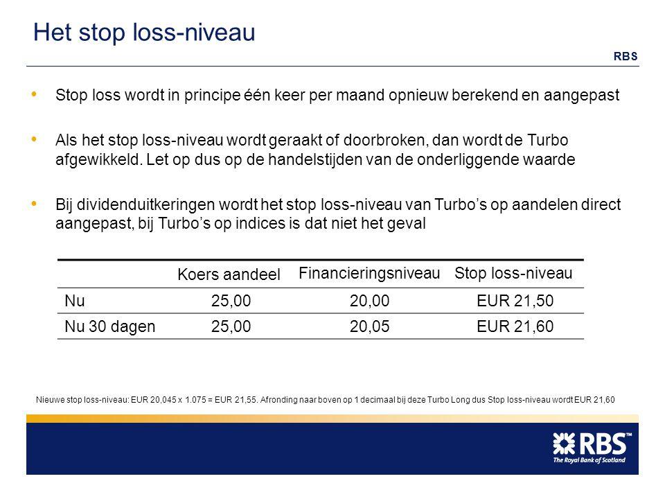 RBS Het stop loss-niveau Koers aandeel FinancieringsniveauStop loss-niveau Nu25,00 20,00EUR 21,50 Nu 30 dagen25,00 20,05EUR 21,60 Stop loss wordt in principe één keer per maand opnieuw berekend en aangepast Als het stop loss-niveau wordt geraakt of doorbroken, dan wordt de Turbo afgewikkeld.