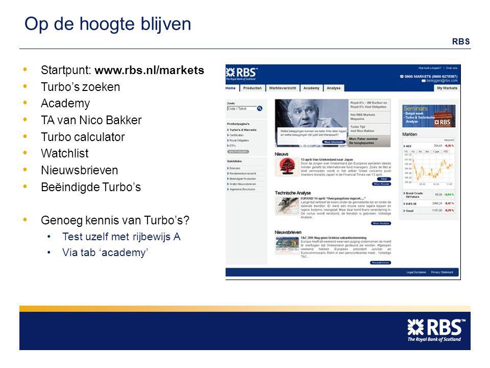 RBS Op de hoogte blijven Startpunt: www.rbs.nl/markets Turbo's zoeken Academy TA van Nico Bakker Turbo calculator Watchlist Nieuwsbrieven Beëindigde Turbo's Genoeg kennis van Turbo's.