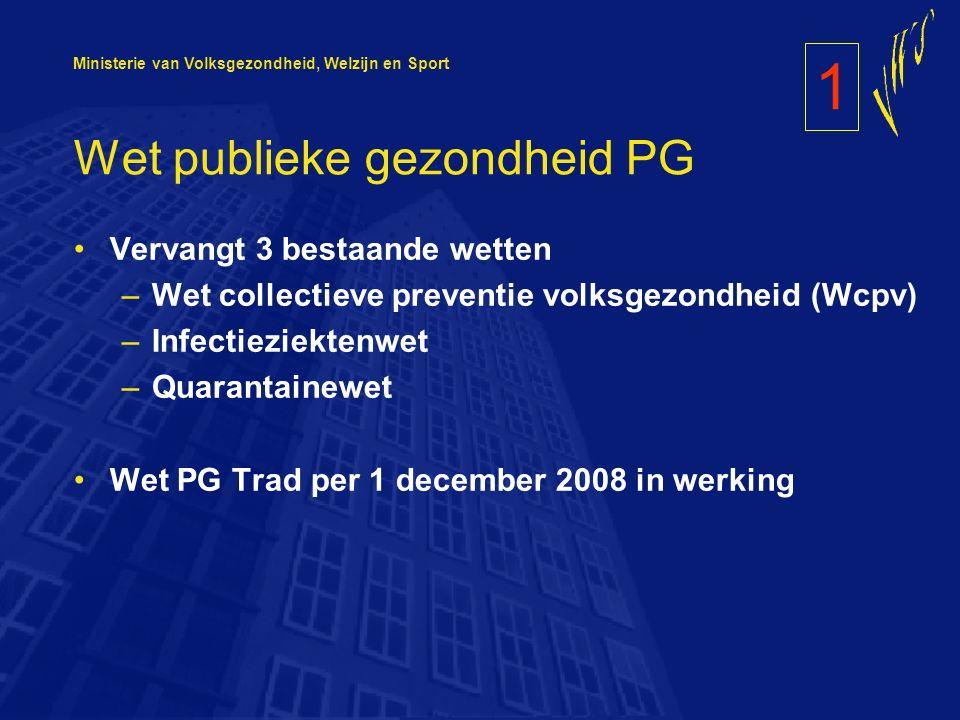 Ministerie van Volksgezondheid, Welzijn en Sport Wet publieke gezondheid PG Vervangt 3 bestaande wetten –Wet collectieve preventie volksgezondheid (Wcpv) –Infectieziektenwet –Quarantainewet Wet PG Trad per 1 december 2008 in werking 1