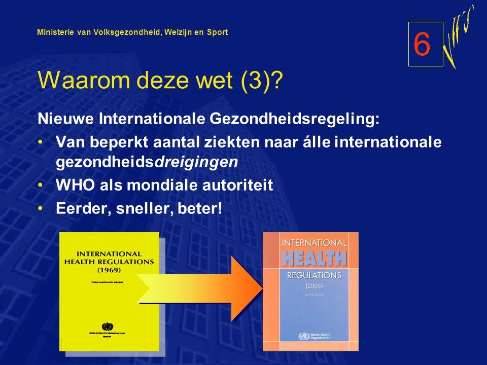 Ministerie van Volksgezondheid, Welzijn en Sport Waarom deze wet (3).