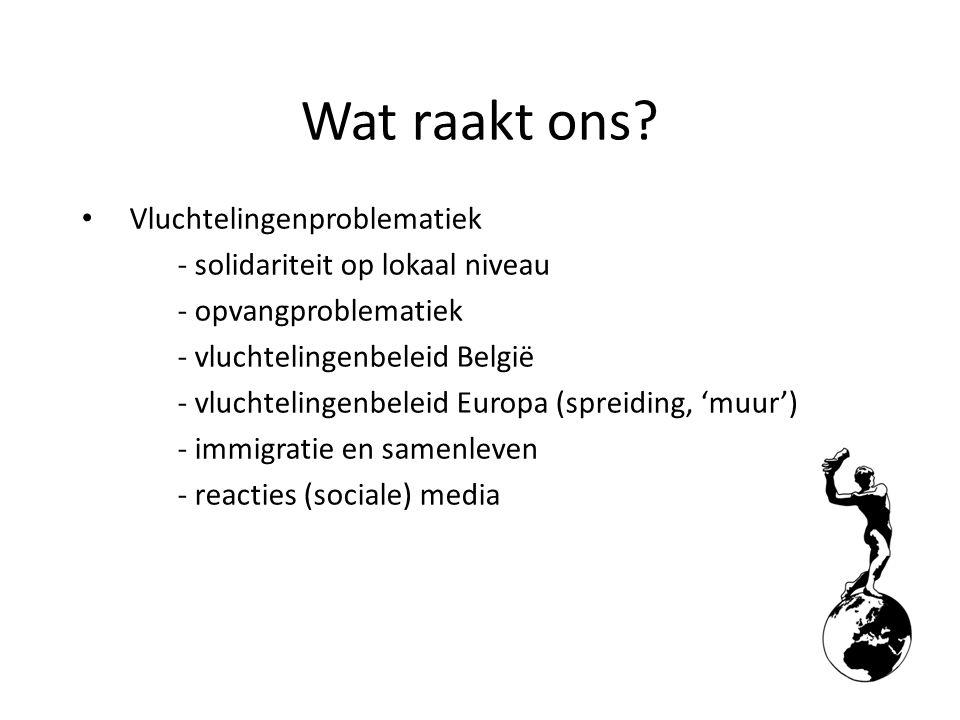 Vluchtelingenproblematiek - solidariteit op lokaal niveau - opvangproblematiek - vluchtelingenbeleid België - vluchtelingenbeleid Europa (spreiding, 'muur') - immigratie en samenleven - reacties (sociale) media