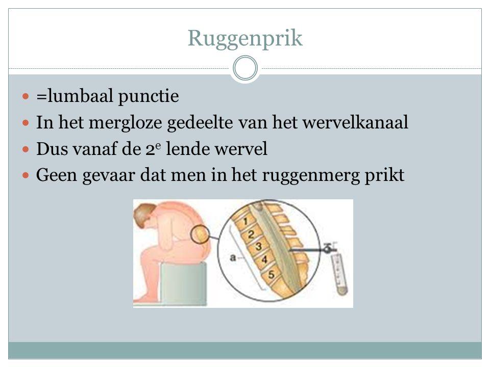 Ruggenprik =lumbaal punctie In het mergloze gedeelte van het wervelkanaal Dus vanaf de 2 e lende wervel Geen gevaar dat men in het ruggenmerg prikt