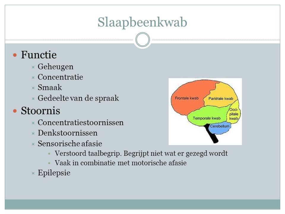 Slaapbeenkwab Functie  Geheugen  Concentratie  Smaak  Gedeelte van de spraak Stoornis  Concentratiestoornissen  Denkstoornissen  Sensorische af
