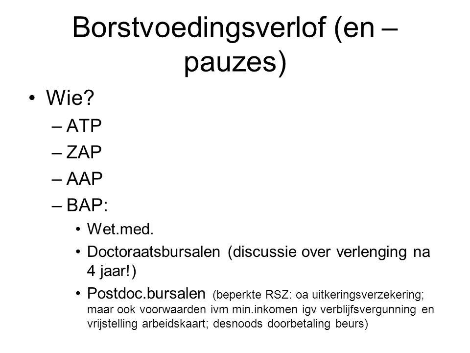 Borstvoedingsverlof (en – pauzes) Wie.–ATP –ZAP –AAP –BAP: Wet.med.