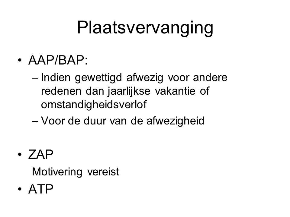 Plaatsvervanging AAP/BAP: –Indien gewettigd afwezig voor andere redenen dan jaarlijkse vakantie of omstandigheidsverlof –Voor de duur van de afwezigheid ZAP Motivering vereist ATP
