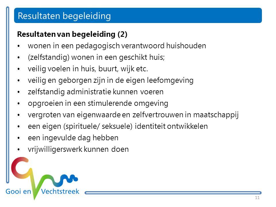 11 Resultaten begeleiding Resultaten van begeleiding (2) wonen in een pedagogisch verantwoord huishouden (zelfstandig) wonen in een geschikt huis; veilig voelen in huis, buurt, wijk etc.