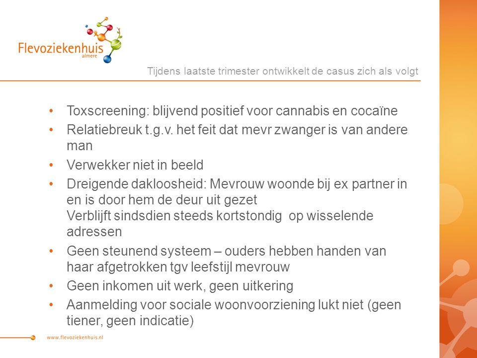 Toxscreening: blijvend positief voor cannabis en cocaïne Relatiebreuk t.g.v. het feit dat mevr zwanger is van andere man Verwekker niet in beeld Dreig