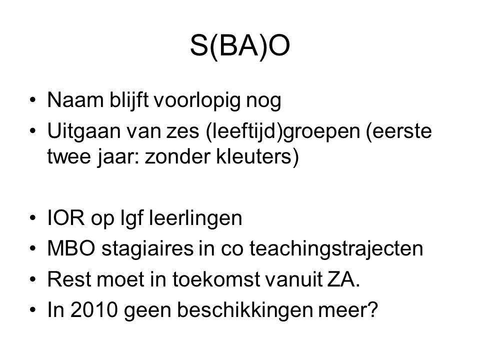 S(BA)O Naam blijft voorlopig nog Uitgaan van zes (leeftijd)groepen (eerste twee jaar: zonder kleuters) IOR op lgf leerlingen MBO stagiaires in co teac
