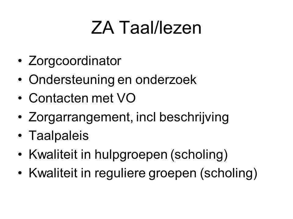 ZA Taal/lezen Zorgcoordinator Ondersteuning en onderzoek Contacten met VO Zorgarrangement, incl beschrijving Taalpaleis Kwaliteit in hulpgroepen (scho