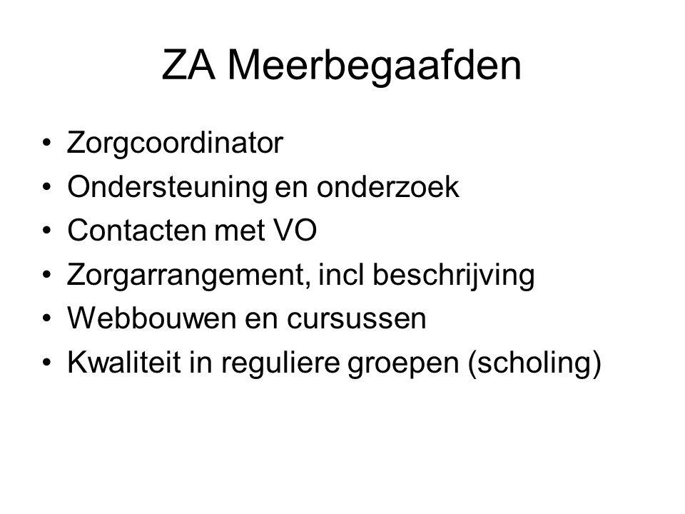 ZA Meerbegaafden Zorgcoordinator Ondersteuning en onderzoek Contacten met VO Zorgarrangement, incl beschrijving Webbouwen en cursussen Kwaliteit in re