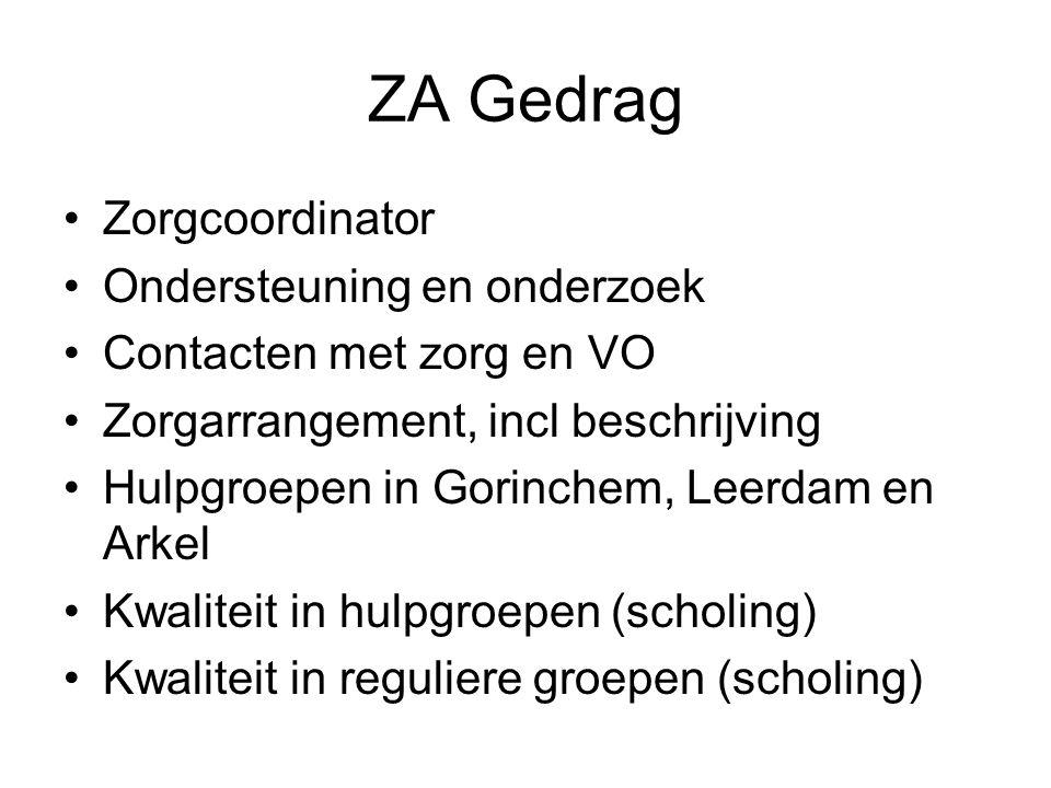ZA Gedrag Zorgcoordinator Ondersteuning en onderzoek Contacten met zorg en VO Zorgarrangement, incl beschrijving Hulpgroepen in Gorinchem, Leerdam en