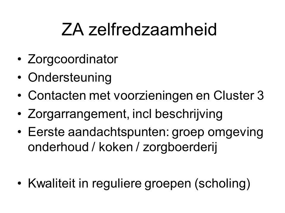 ZA zelfredzaamheid Zorgcoordinator Ondersteuning Contacten met voorzieningen en Cluster 3 Zorgarrangement, incl beschrijving Eerste aandachtspunten: g