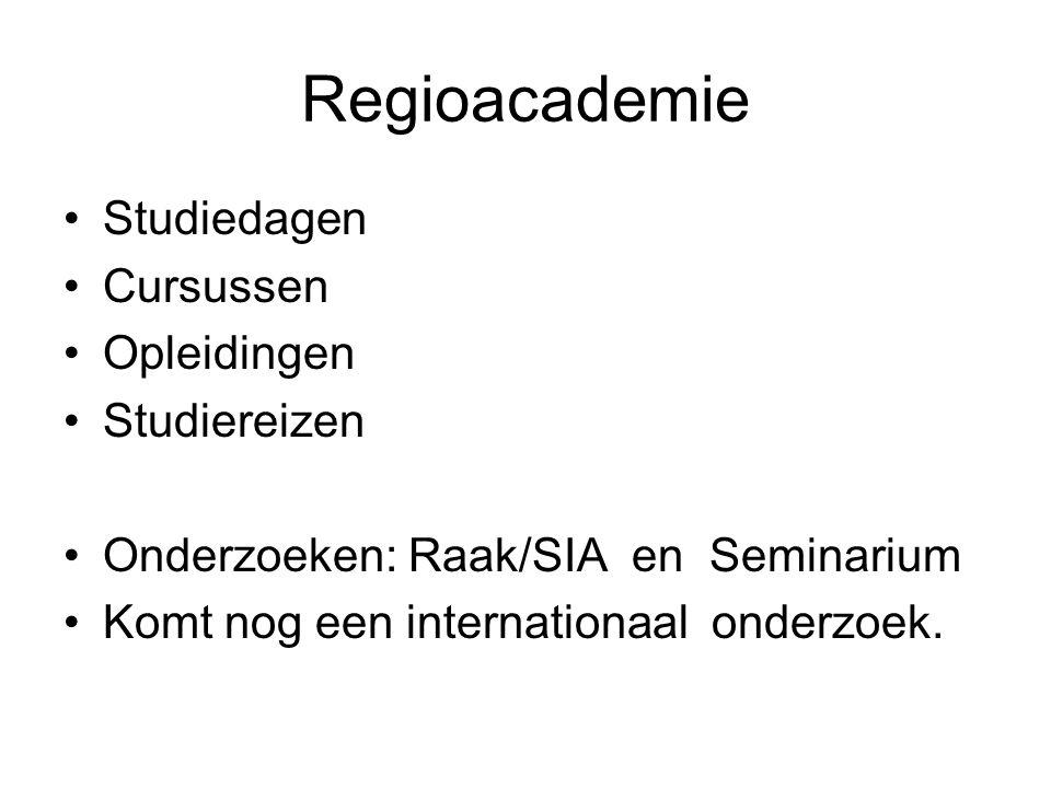 Regioacademie Studiedagen Cursussen Opleidingen Studiereizen Onderzoeken: Raak/SIA en Seminarium Komt nog een internationaal onderzoek.