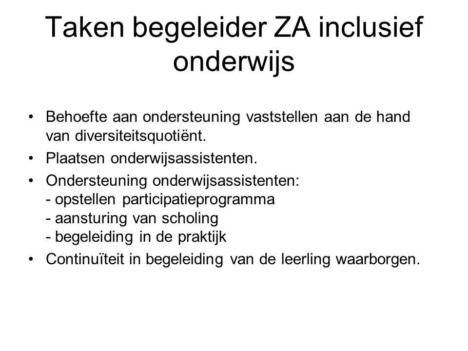 Taken begeleider ZA inclusief onderwijs Behoefte aan ondersteuning vaststellen aan de hand van diversiteitsquotiënt. Plaatsen onderwijsassistenten. On