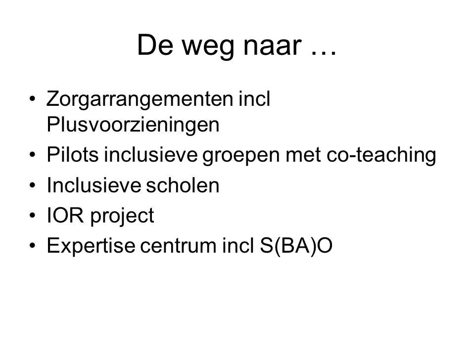 De weg naar … Zorgarrangementen incl Plusvoorzieningen Pilots inclusieve groepen met co-teaching Inclusieve scholen IOR project Expertise centrum incl