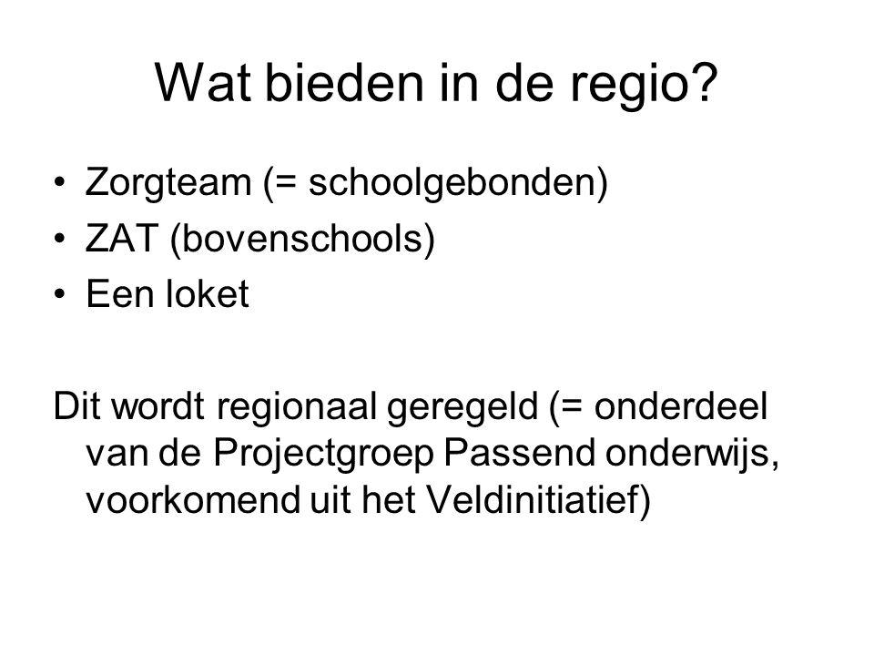 Wat bieden in de regio? Zorgteam (= schoolgebonden) ZAT (bovenschools) Een loket Dit wordt regionaal geregeld (= onderdeel van de Projectgroep Passend