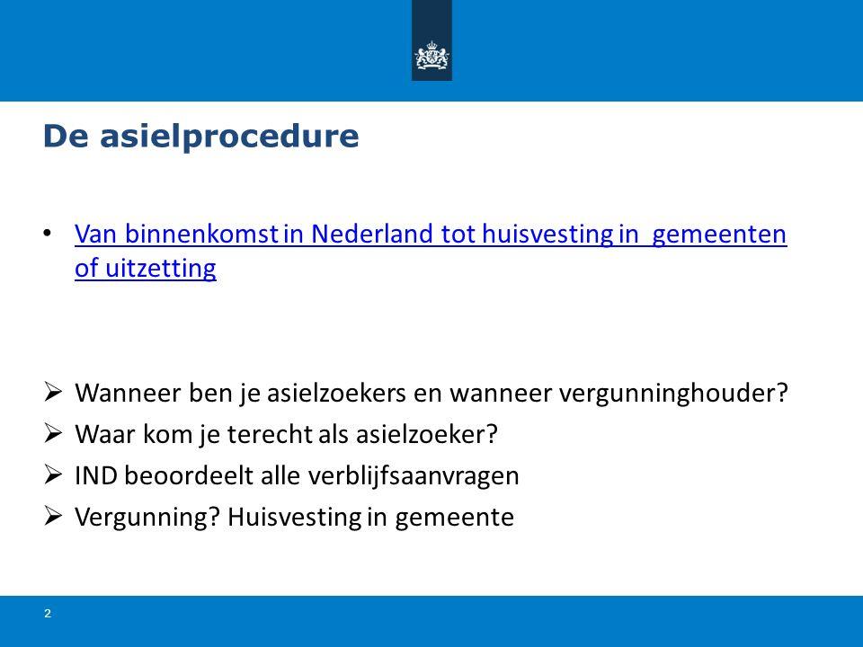 De asielprocedure 2 Van binnenkomst in Nederland tot huisvesting in gemeenten of uitzetting Van binnenkomst in Nederland tot huisvesting in gemeenten of uitzetting  Wanneer ben je asielzoekers en wanneer vergunninghouder.