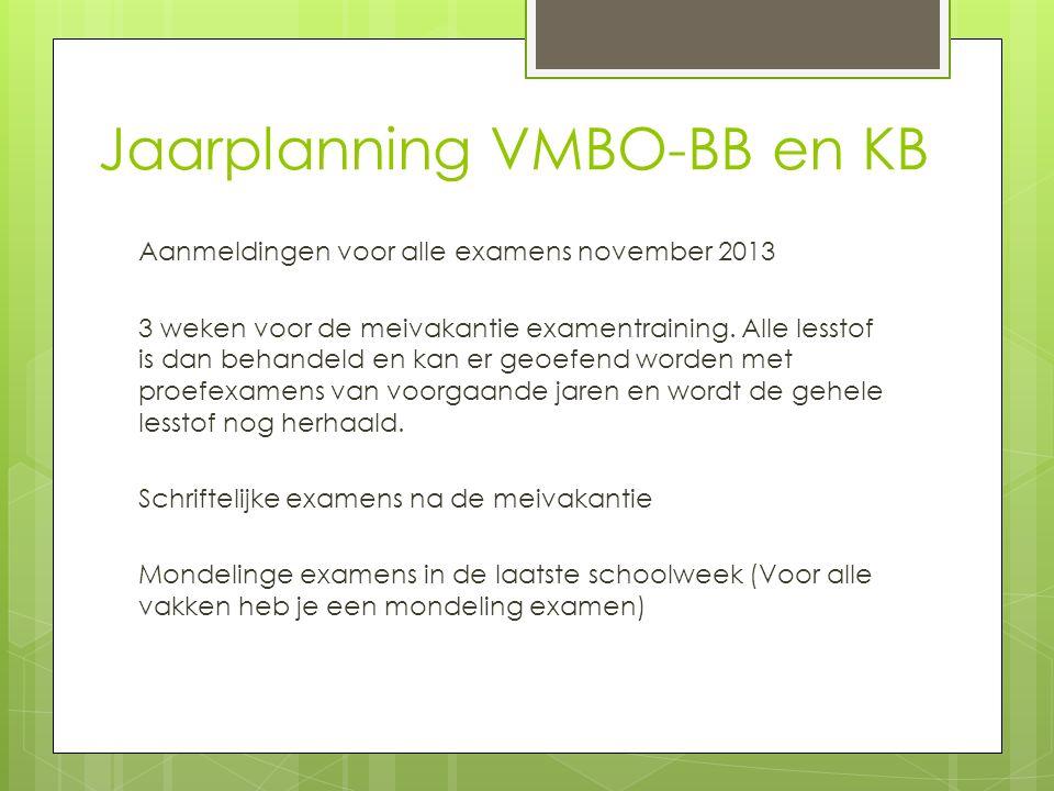 Jaarplanning VMBO-BB en KB Aanmeldingen voor alle examens november 2013 3 weken voor de meivakantie examentraining.