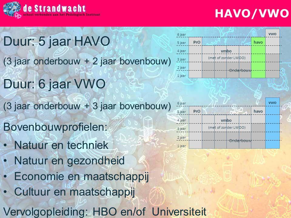 HAVO/VWO vwo havo vmbo PrO (met of zonder LWOO) 1 jaar 2 jaar 6 jaar 4 jaar 3 jaar 5 jaar Onderbouw Duur: 5 jaar HAVO (3 jaar onderbouw + 2 jaar boven