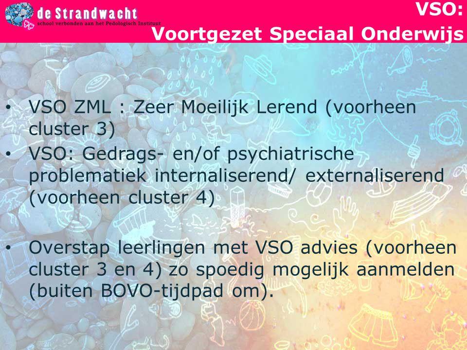 VSO: Voortgezet Speciaal Onderwijs VSO ZML : Zeer Moeilijk Lerend (voorheen cluster 3) VSO: Gedrags- en/of psychiatrische problematiek internaliserend/ externaliserend (voorheen cluster 4) Overstap leerlingen met VSO advies (voorheen cluster 3 en 4) zo spoedig mogelijk aanmelden (buiten BOVO-tijdpad om).