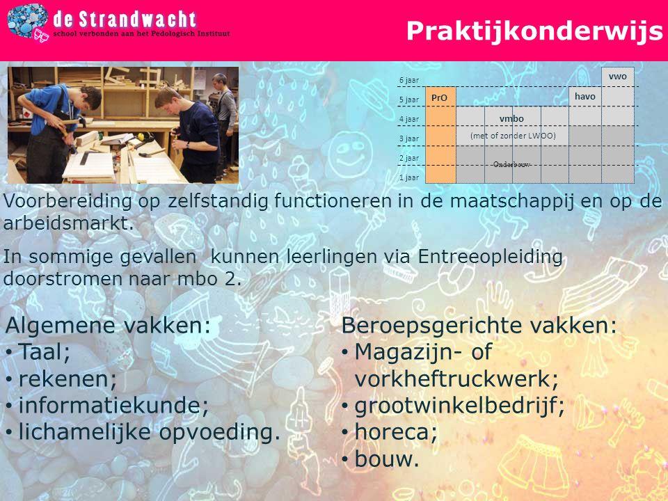 Praktijkonderwijs vwo havo vmbo PrO (met of zonder LWOO) 1 jaar 2 jaar 6 jaar 4 jaar 3 jaar 5 jaar Onderbouw Voorbereiding op zelfstandig functioneren in de maatschappij en op de arbeidsmarkt.