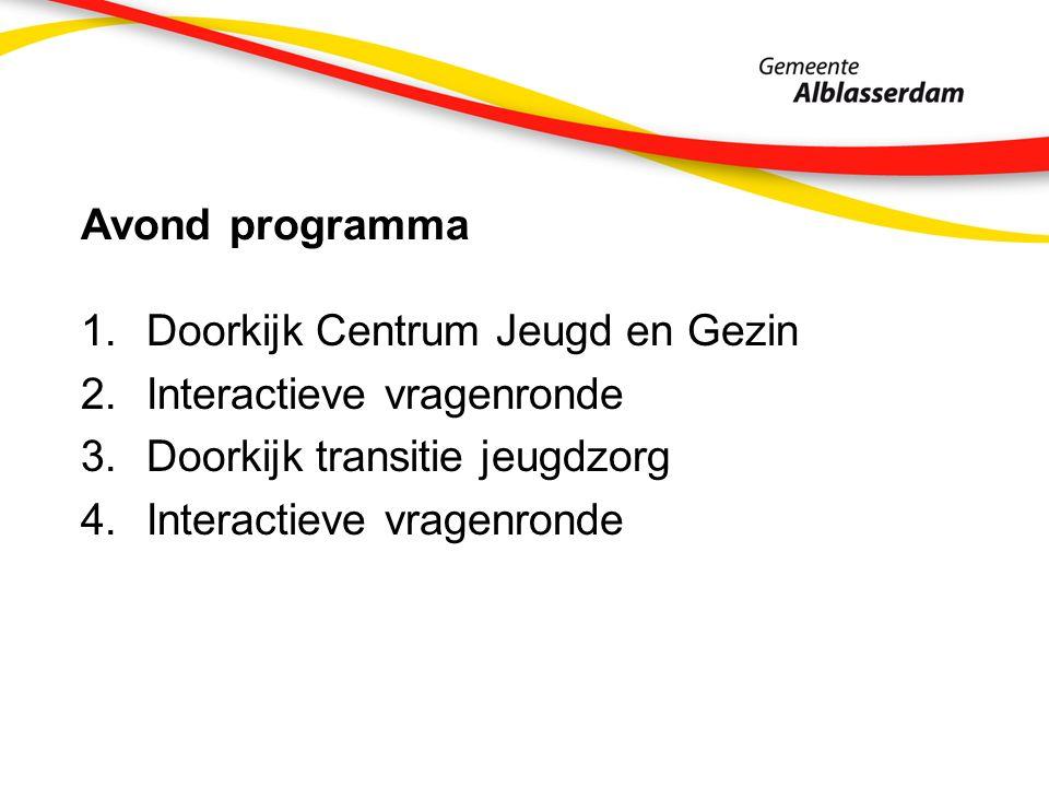 Avond programma 1.Doorkijk Centrum Jeugd en Gezin 2.Interactieve vragenronde 3.Doorkijk transitie jeugdzorg 4.Interactieve vragenronde