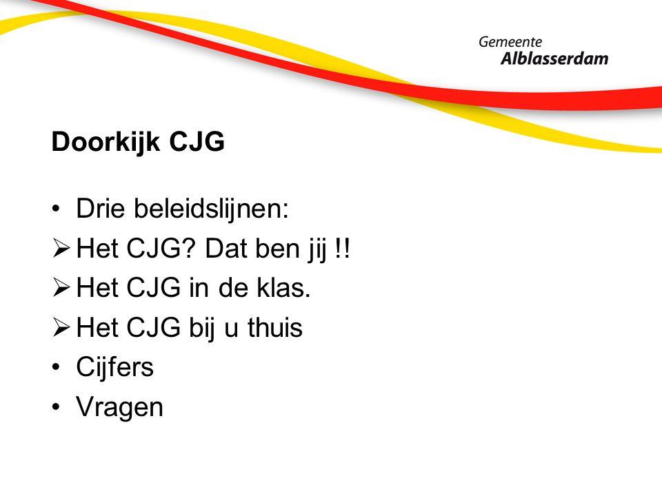 Doorkijk CJG Drie beleidslijnen:  Het CJG. Dat ben jij !.