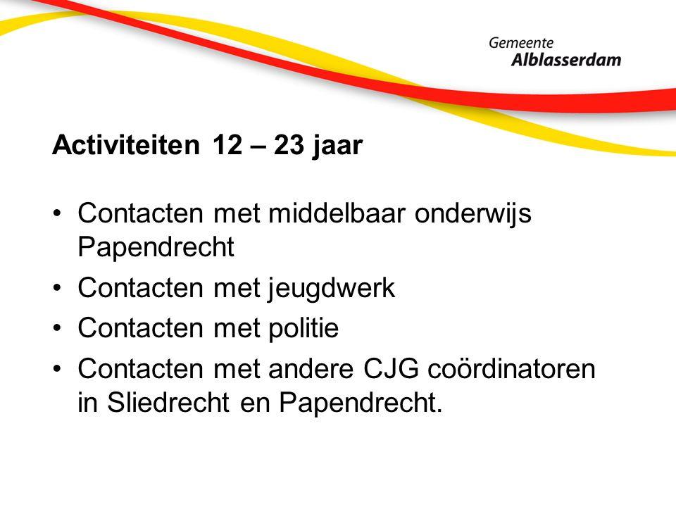 Activiteiten 12 – 23 jaar Contacten met middelbaar onderwijs Papendrecht Contacten met jeugdwerk Contacten met politie Contacten met andere CJG coördi