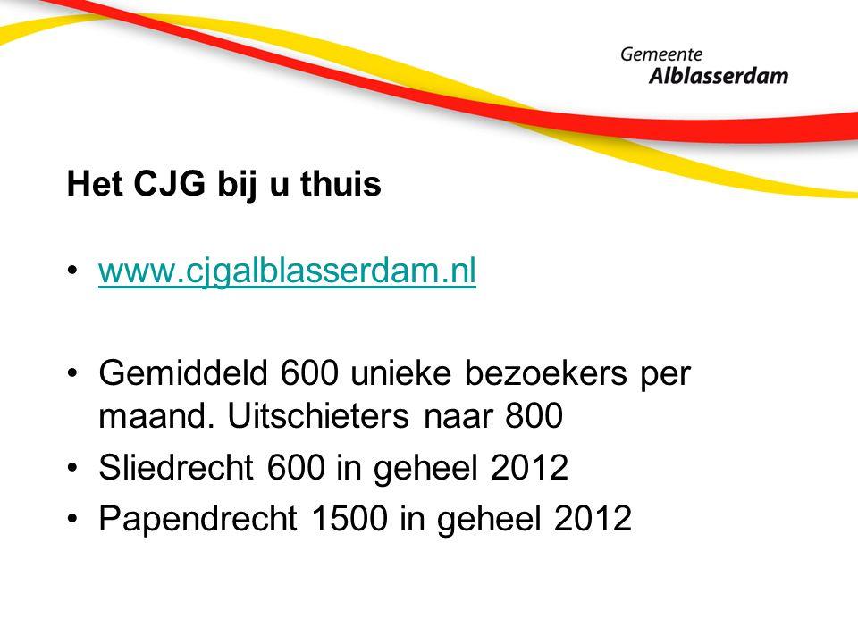 Het CJG bij u thuis www.cjgalblasserdam.nl Gemiddeld 600 unieke bezoekers per maand. Uitschieters naar 800 Sliedrecht 600 in geheel 2012 Papendrecht 1