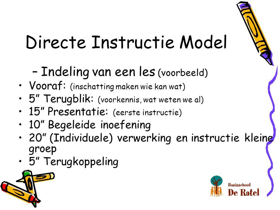 Directe Instructie Model –Indeling van een les (voorbeeld) Vooraf: (inschatting maken wie kan wat) 5 Terugblik: (voorkennis, wat weten we al) 15 Presentatie: (eerste instructie) 10 Begeleide inoefening 20 (Individuele) verwerking en instructie kleine groep 5 Terugkoppeling