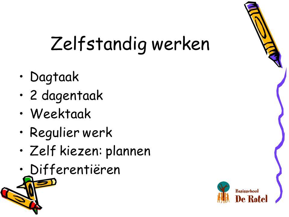 Zelfstandig werken Dagtaak 2 dagentaak Weektaak Regulier werk Zelf kiezen: plannen Differentiëren