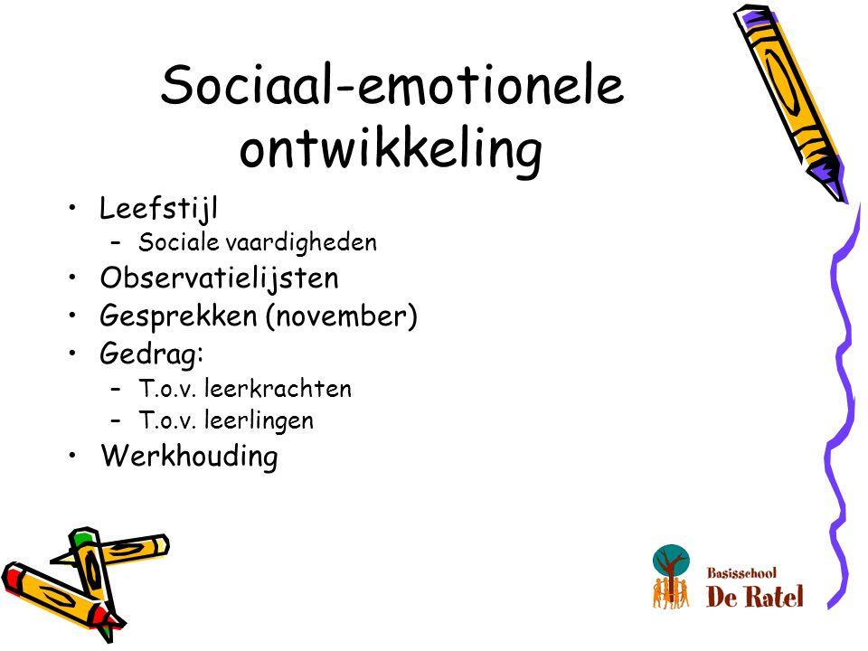 Sociaal-emotionele ontwikkeling Leefstijl –Sociale vaardigheden Observatielijsten Gesprekken (november) Gedrag: –T.o.v.
