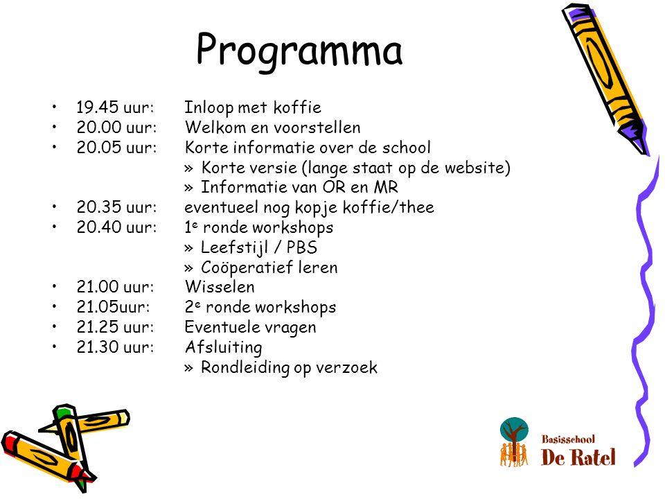 Programma 19.45 uur:Inloop met koffie 20.00 uur:Welkom en voorstellen 20.05 uur:Korte informatie over de school »Korte versie (lange staat op de website) »Informatie van OR en MR 20.35 uur:eventueel nog kopje koffie/thee 20.40 uur: 1 e ronde workshops »Leefstijl / PBS »Coöperatief leren 21.00 uur: Wisselen 21.05uur: 2 e ronde workshops 21.25 uur: Eventuele vragen 21.30 uur:Afsluiting »Rondleiding op verzoek