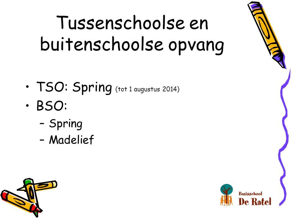 Tussenschoolse en buitenschoolse opvang TSO: Spring (tot 1 augustus 2014) BSO: –Spring –Madelief