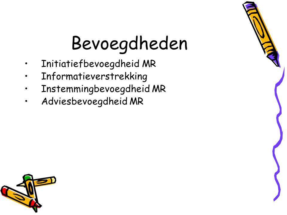 Bevoegdheden Initiatiefbevoegdheid MR Informatieverstrekking Instemmingbevoegdheid MR Adviesbevoegdheid MR
