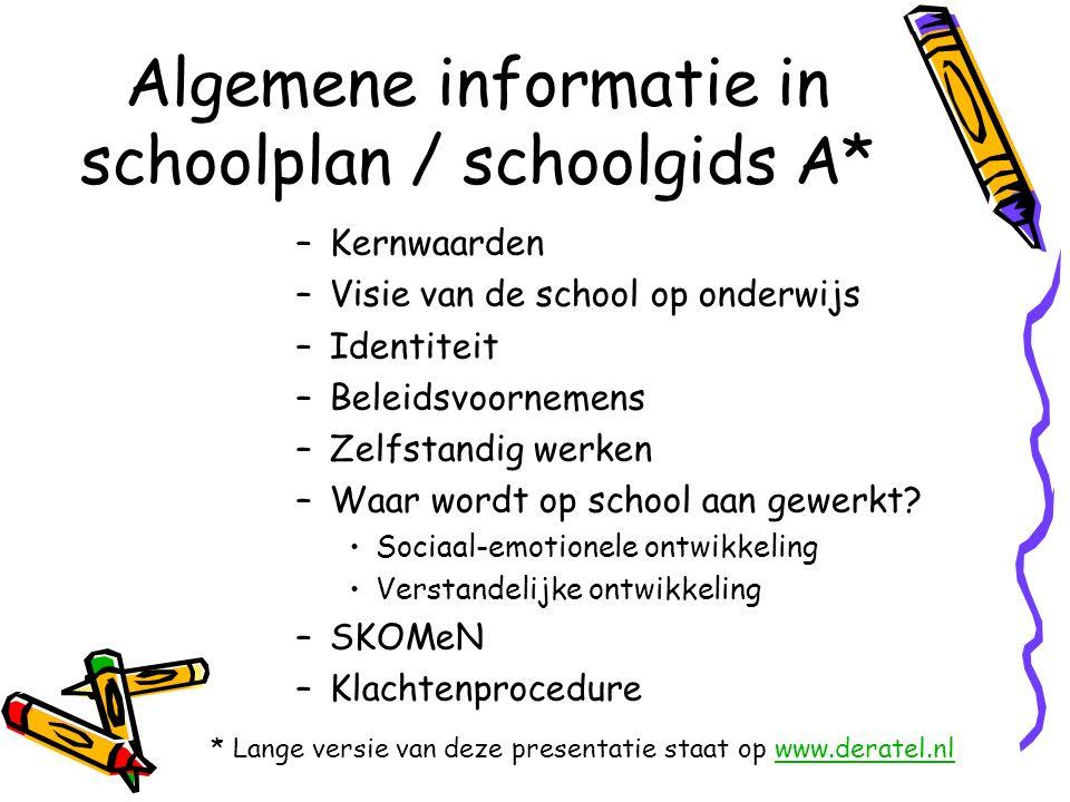 Algemene informatie in schoolplan / schoolgids A* –Kernwaarden –Visie van de school op onderwijs –Identiteit –Beleidsvoornemens –Zelfstandig werken –Waar wordt op school aan gewerkt.