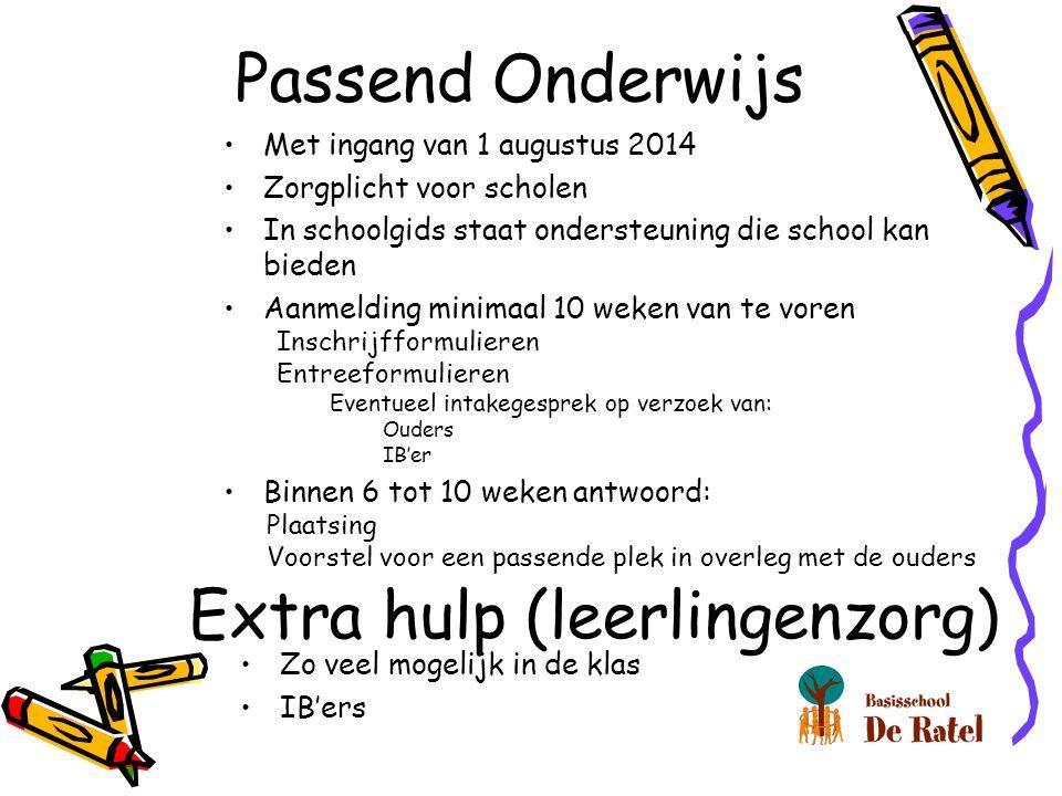 Passend Onderwijs Zo veel mogelijk in de klas IB'ers Extra hulp (leerlingenzorg) Met ingang van 1 augustus 2014 Zorgplicht voor scholen In schoolgids