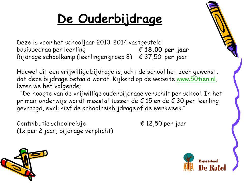 De Ouderbijdrage Deze is voor het schooljaar 2013-2014 vastgesteld basisbedrag per leerling€ 18,00 per jaar Bijdrage schoolkamp (leerlingen groep 8)€