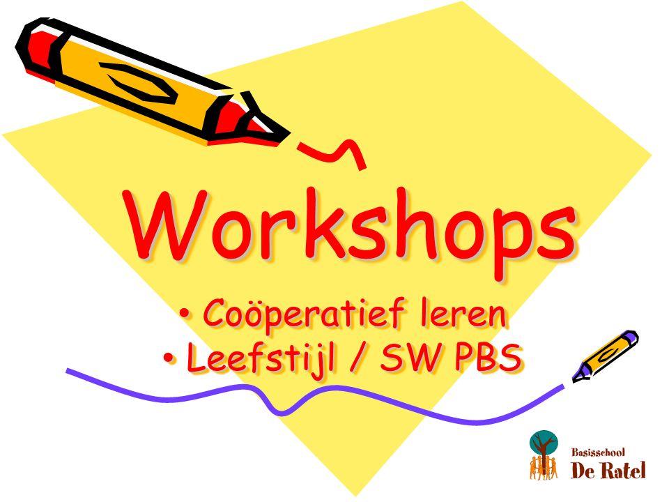 WorkshopsWorkshops Coöperatief leren Coöperatief leren Leefstijl / SW PBS Leefstijl / SW PBS Coöperatief leren Coöperatief leren Leefstijl / SW PBS Leefstijl / SW PBS