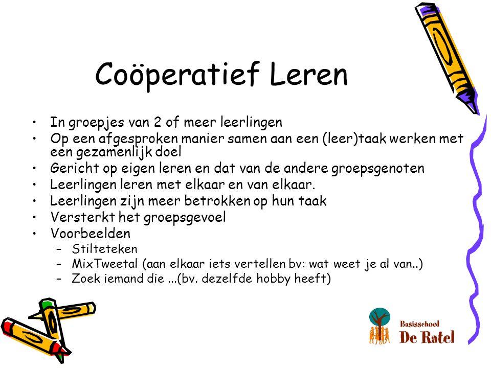 Coöperatief Leren In groepjes van 2 of meer leerlingen Op een afgesproken manier samen aan een (leer)taak werken met een gezamenlijk doel Gericht op e