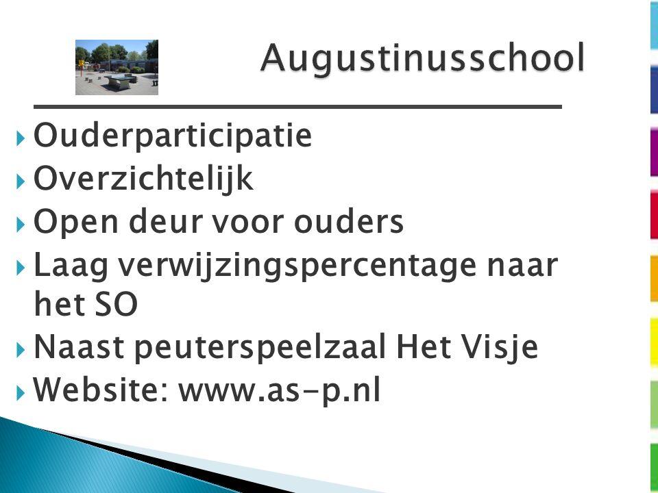 Augustinusschool  Ouderparticipatie  Overzichtelijk  Open deur voor ouders  Laag verwijzingspercentage naar het SO  Naast peuterspeelzaal Het Visje  Website: www.as-p.nl