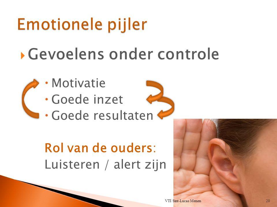  Gevoelens onder controle  Motivatie  Goede inzet  Goede resultaten Rol van de ouders: Luisteren / alert zijn VTI Sint-Lucas Menen20