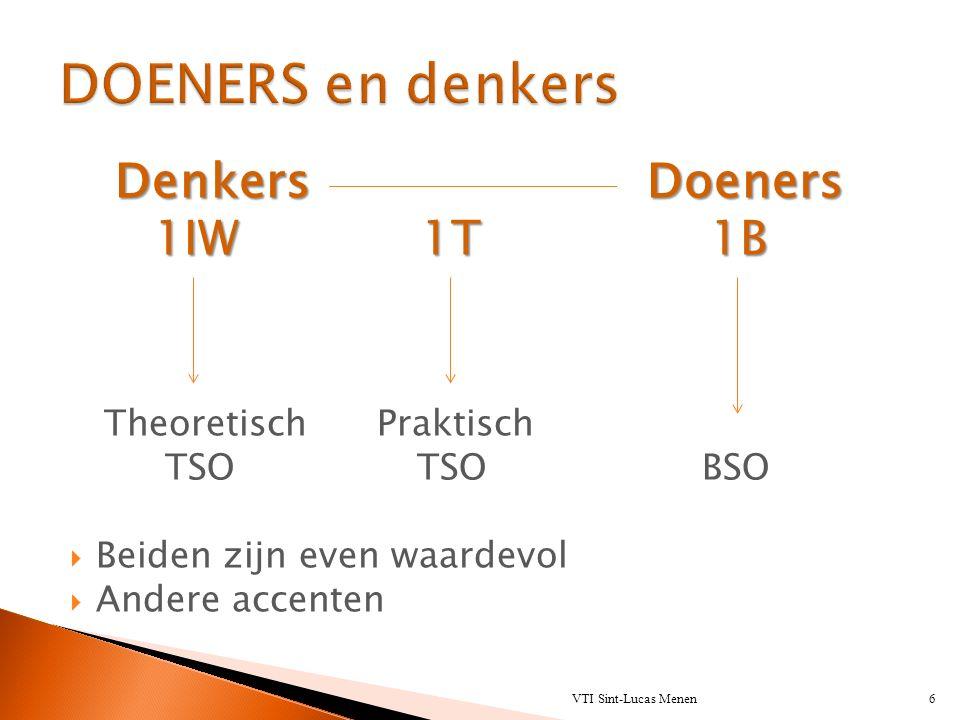 DenkersDoeners Denkers Doeners 1IW 1T 1B Theoretisch Praktisch TSO TSO BSO  Beiden zijn even waardevol  Andere accenten VTI Sint-Lucas Menen6