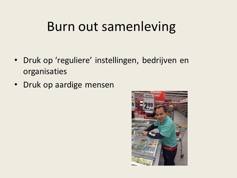 Burn out samenleving Druk op 'reguliere' instellingen, bedrijven en organisaties Druk op aardige mensen